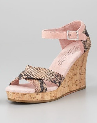 Tuesday Shoesday: TOMS Snake-Embossed Leather Cork-Wedge Sandal Thumbnail