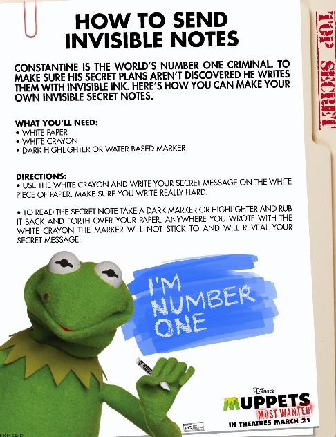 Muppets Most Wanted Activity Sheet: Invisible Notes | LatinaOnaMission.com