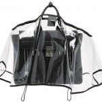 Clear handbag raincoat protects handbag from the elements