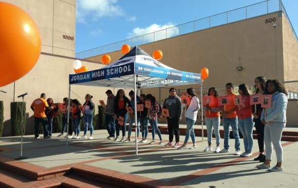 Shown: Students demand action on gun violence and gun control.