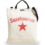 "Shown:Large White Cotton Tote bag with the word ""Superwoman"" written above a lone red star."